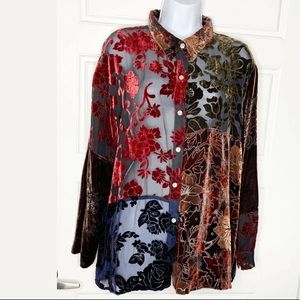 Chico's size 3 velvet burnout blouse shirt
